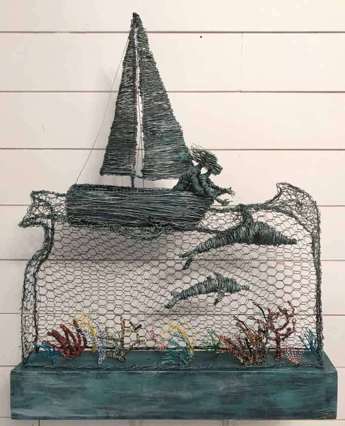 Dolphins wire sculpture by Annie Glass