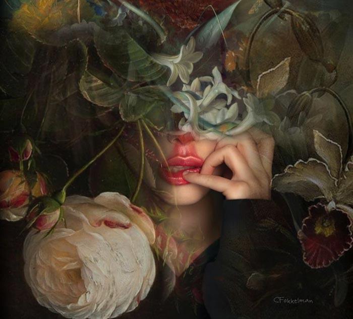 Flora surreal art by Christine Fokkelman