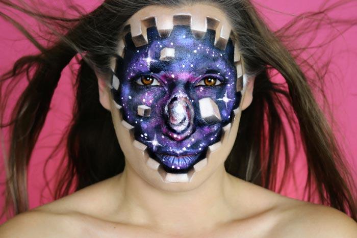 Galaxy and Cubes Makeup look by Sarah Murphy