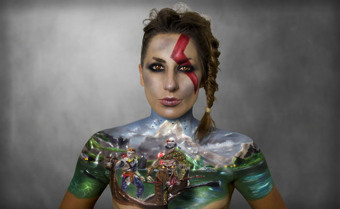 God of War Video Game Body painting by Sarah Murphy