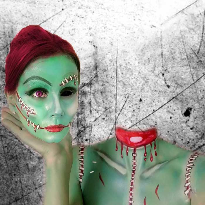 Headless Zombie makeup look by Emma Van-De-Peer