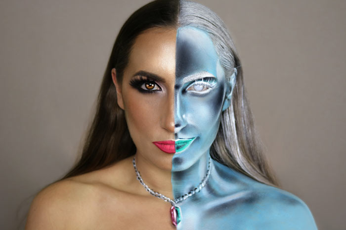 Inverted effect makeup look by Sarah Murphy