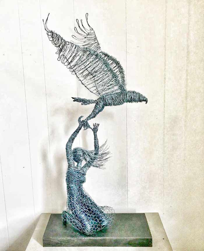 Learning to Fly wire sculpture by Annie Glass