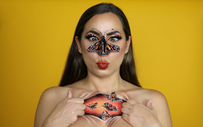 Monarque Butterfly illusion makeup by Sarah Murphy
