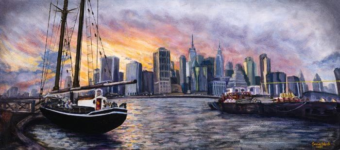 New York Sunset Oil on canvas by Jessie Novik