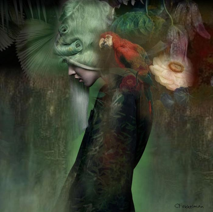 Ophelia surreal painting by Christine Fokkelman