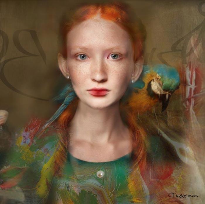 Ophelia with parrot portrait by Christine Fokkelman