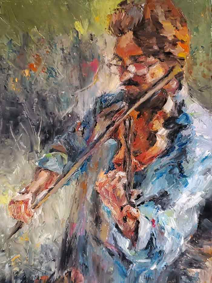 Violinist Oil on canvas by Sarah Yeung