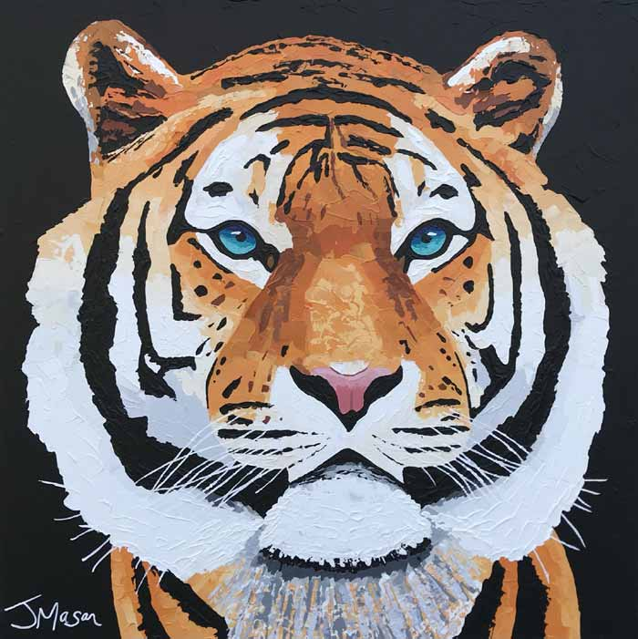 Tiger knife painting by Jack Mason