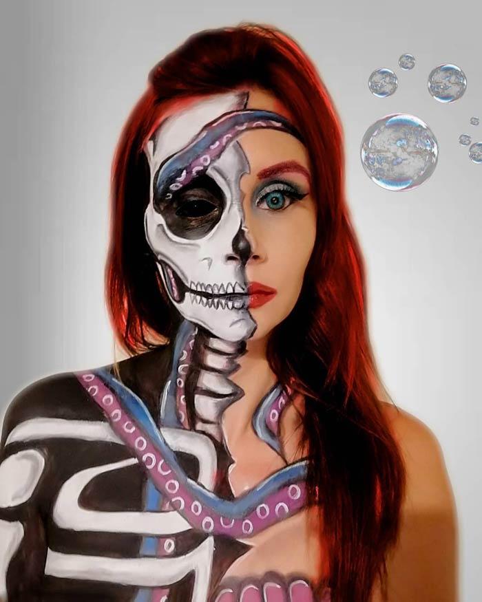 Halloween skull makeup art by Emma Van-De-Peer