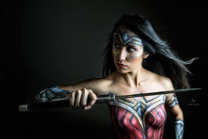 Wonder Woman body painting art