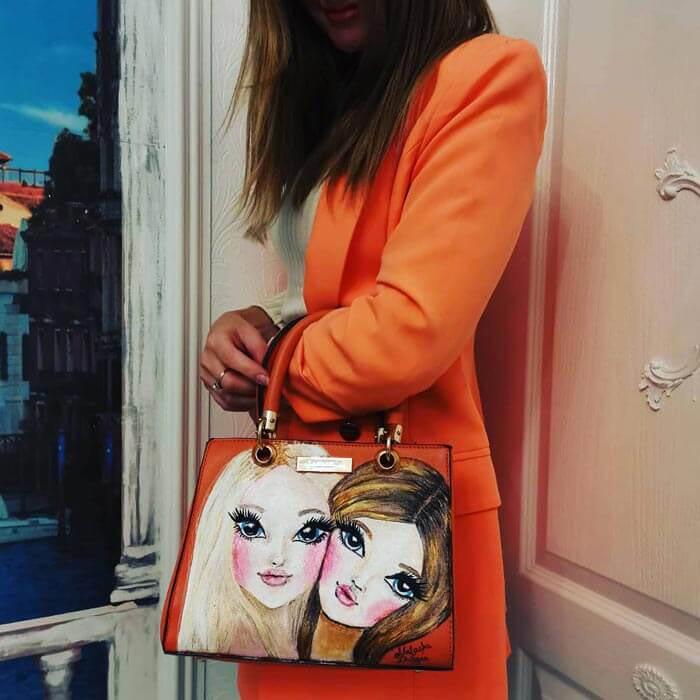 Painting on bag by Natasha Durgan