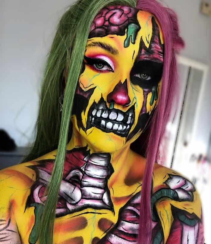 Scary makeup look by makeup artist Hev