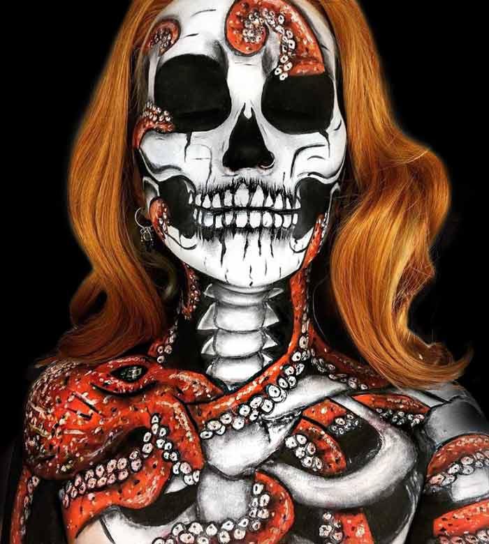 Skeleton makeup look by makeup artist Hev