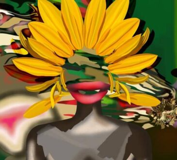 Figure and Sunflower Paintings by Jenny Han