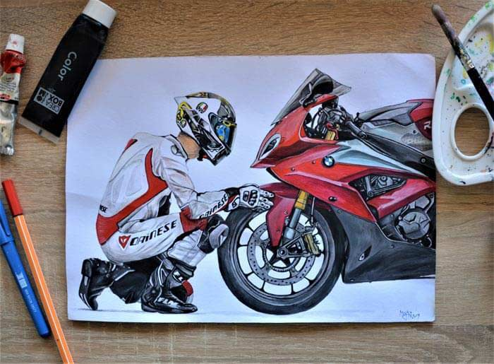 Biker Acrylic painting by Marianna