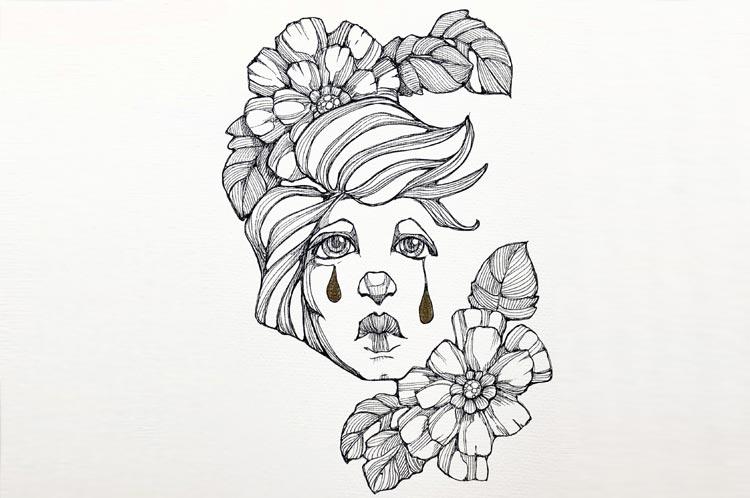 Black ink fantasy drawings