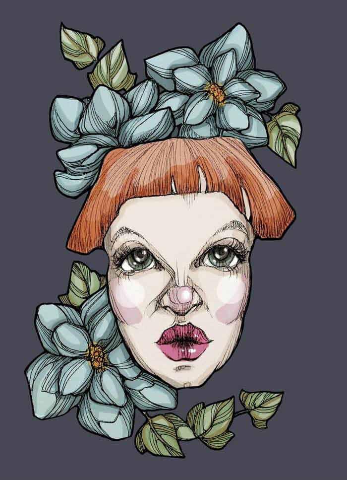 Black ink fantasy drawing by Renata Lombard