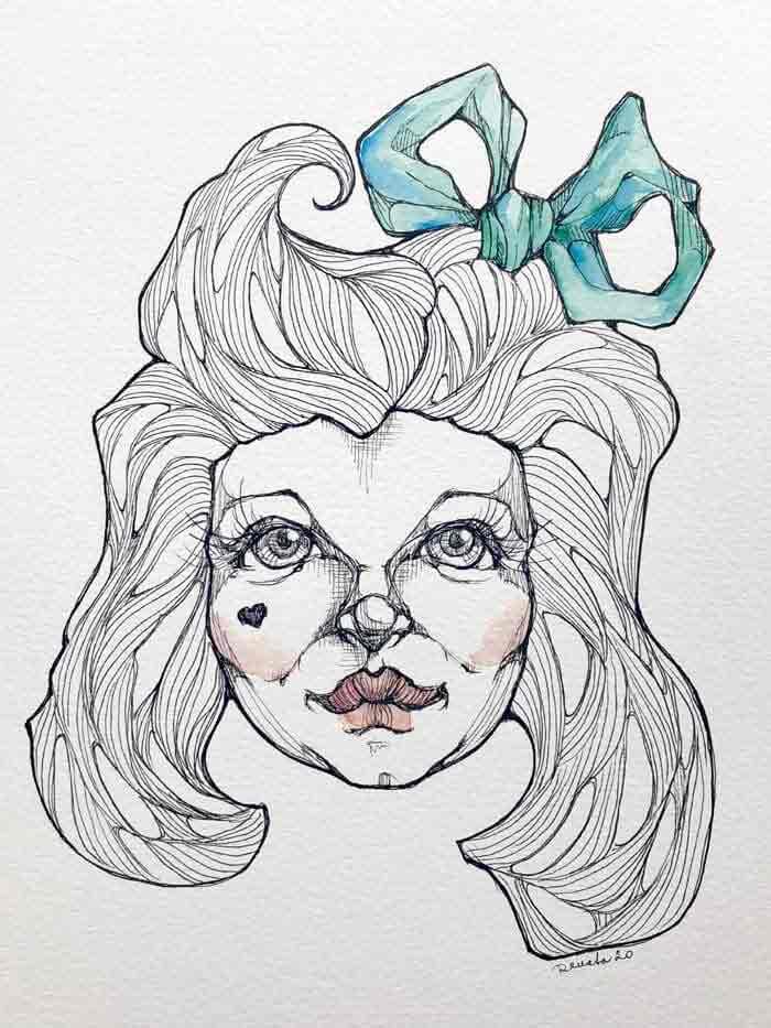 Blackink fantasy drawings by Renata Lombard