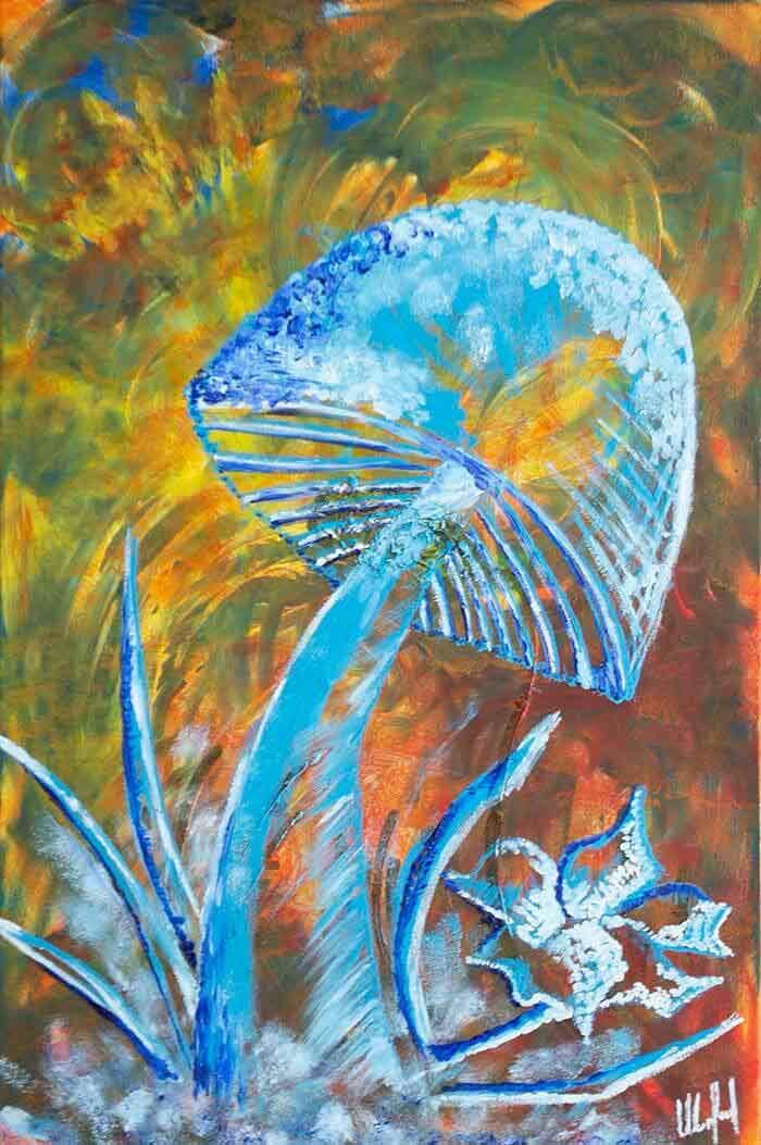 Blue mushroom abstract on canvas