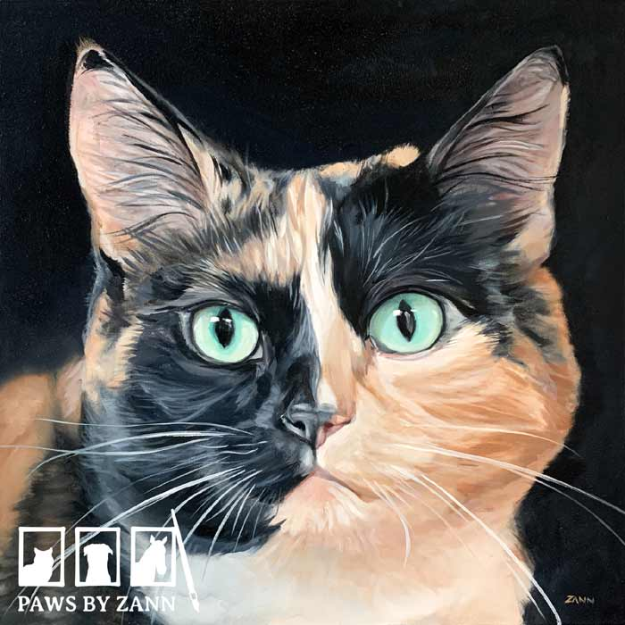 Cat Painting with Oil paint by Zann Hemphill