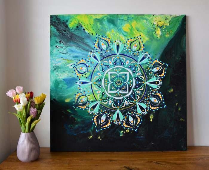 Dot mandala painting on canvas by Marianna