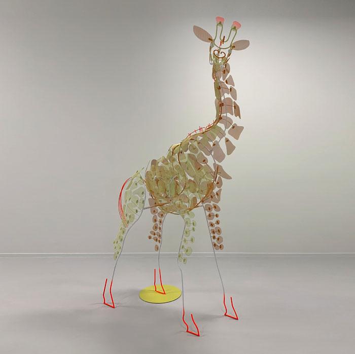 Giraffe metal sculpture by Federico Cosmi