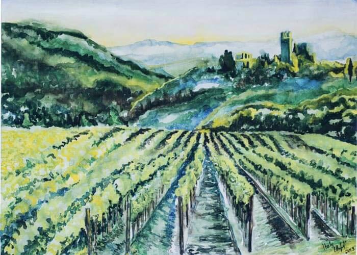 Italy vineyards painting by Svitlana Sherstiuk