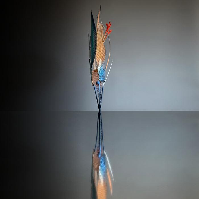 Kingfisher bird sculpture by Federico Cosmi