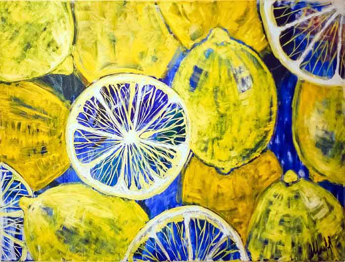 Lemons abstract oil painting by Svitlana Sherstiuk