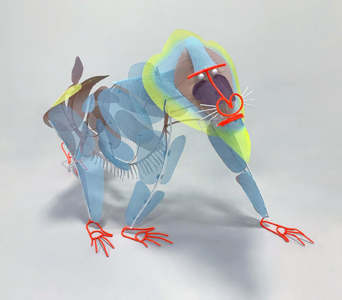 Mandrill iron and wire sculpture by Federico Cosmi