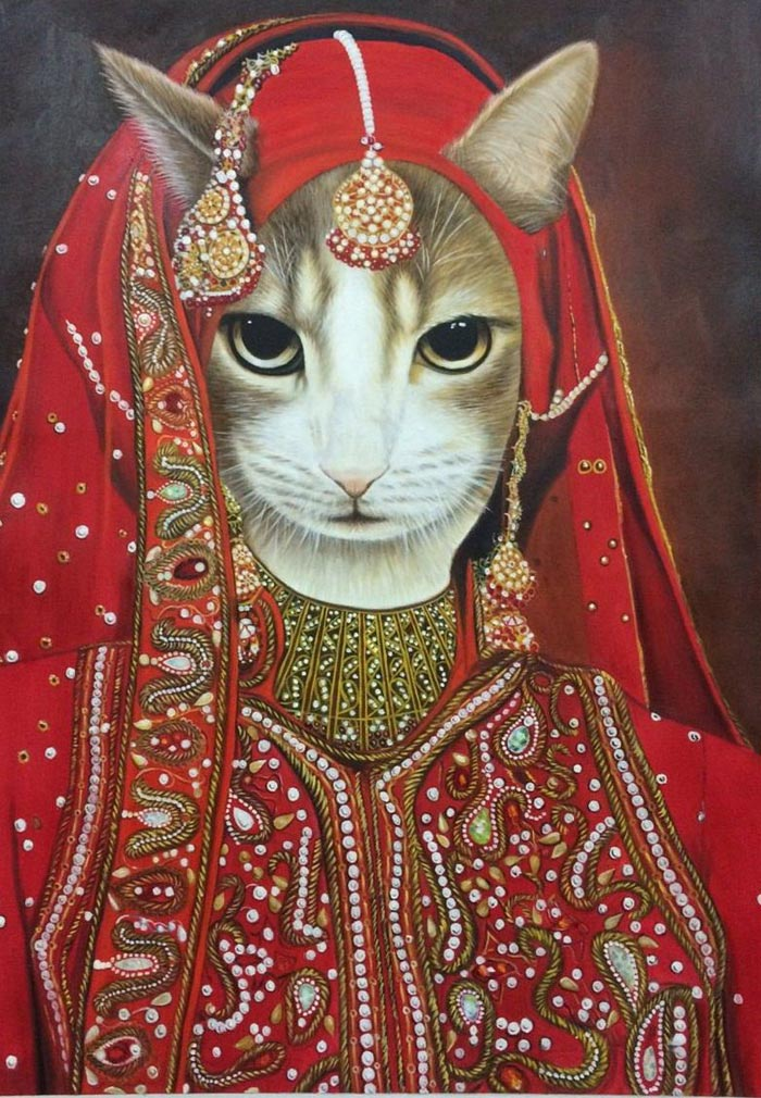 Princess Cat Oil on Canvas by Colm