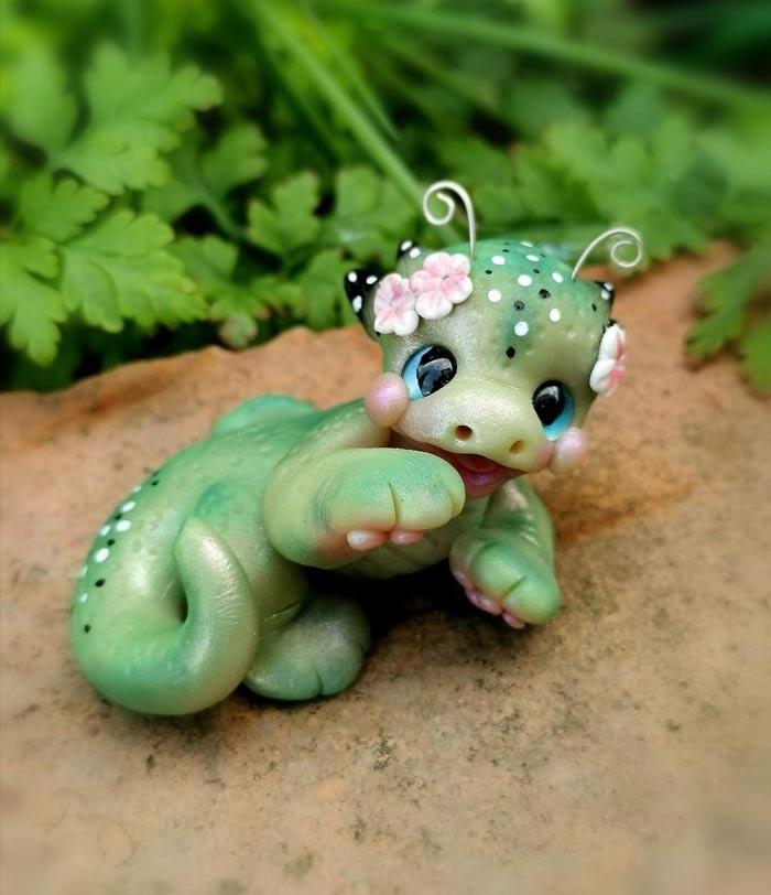 Polymer clay dragon by artist Laura