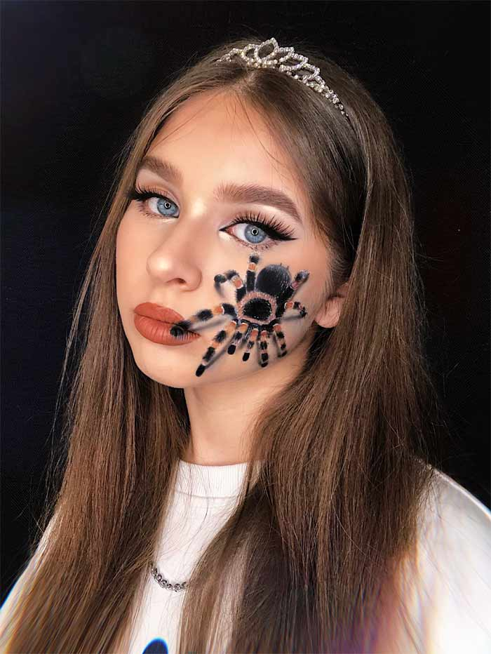 Spider makeup on face by Natalia