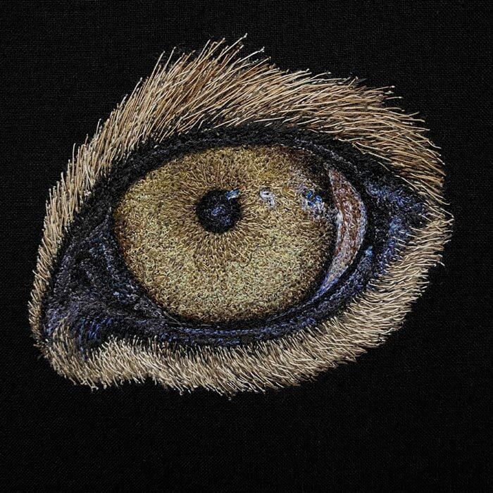 Sri Lankan leopard eye textile art
