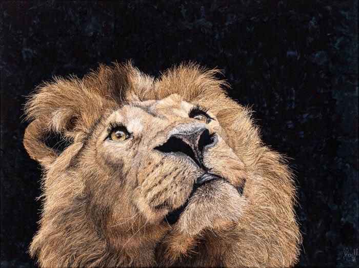 African lion textile art Credit Matin Wacht