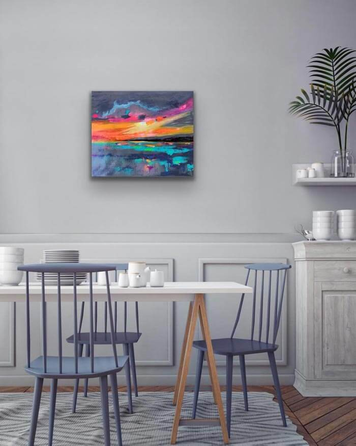 abstract sunset painting Wall art ideas