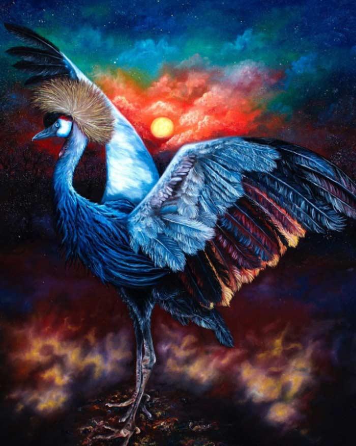 Bird dancing painting by Safa Qureshi