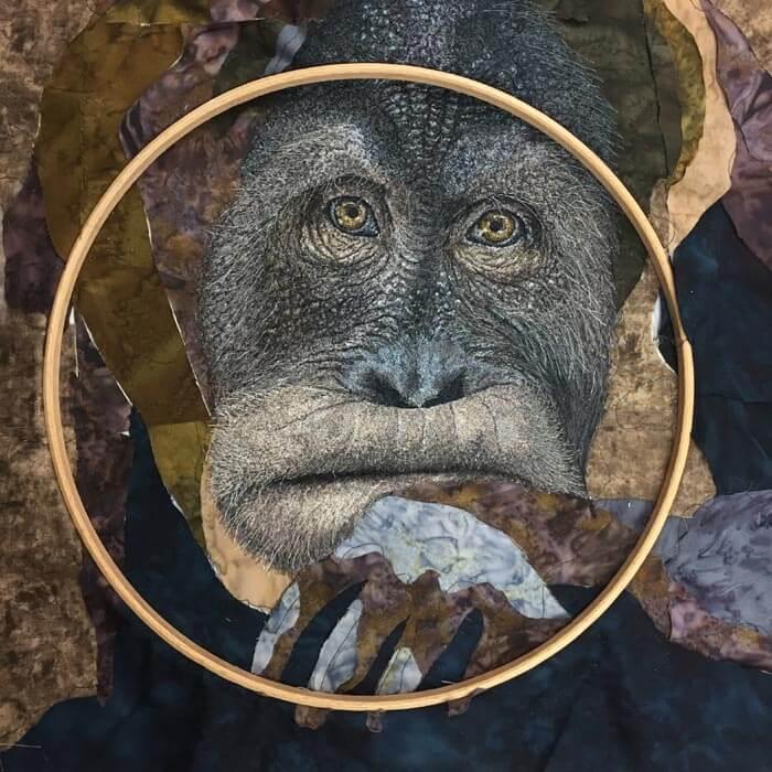 Orangutan portrait art Embroidery process