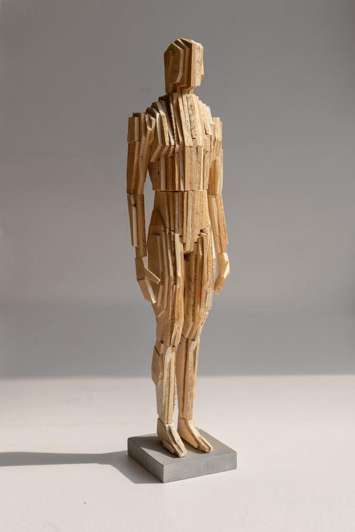 Puppet M Wooden Sculpture by Pyotr Zaitsev