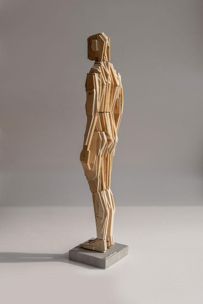 Puppet M wood sculpture by Pyotr Zaitsev