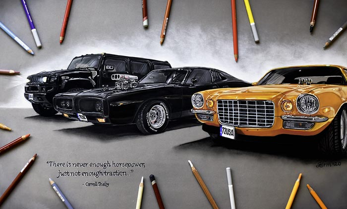 Hyper realistic car drawing