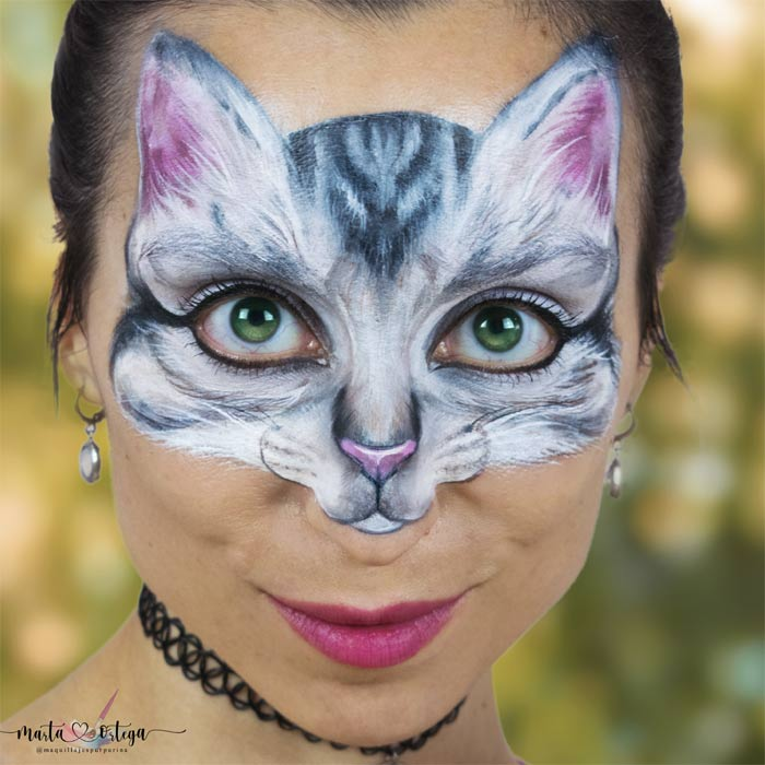 Realistic cat face paint by Marta Ortega