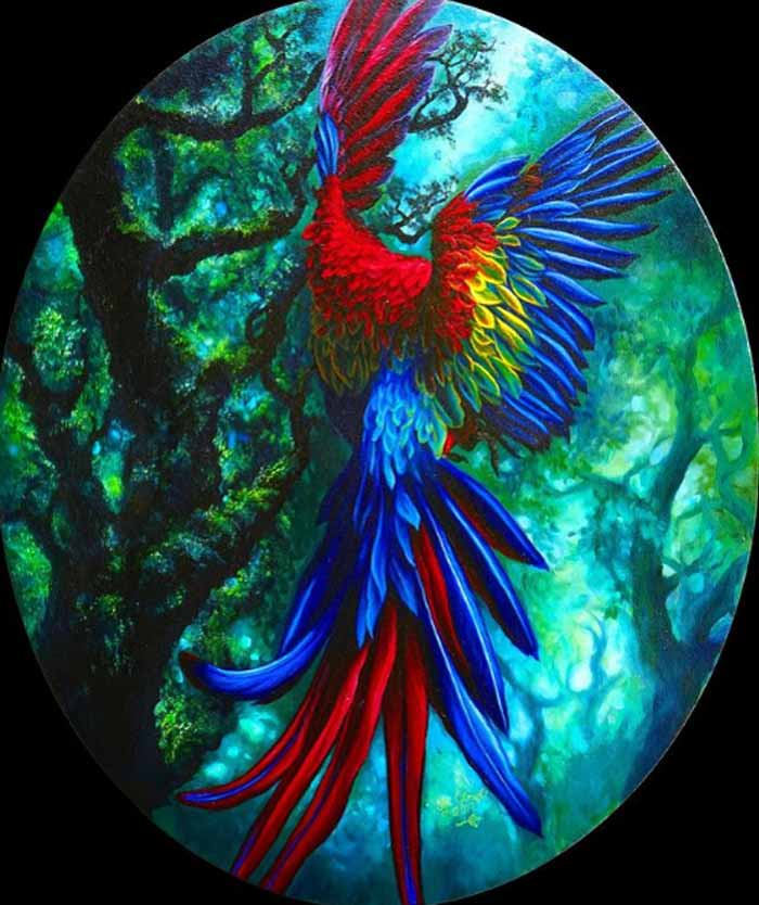 Colorful bird painting by Safa Qureshi