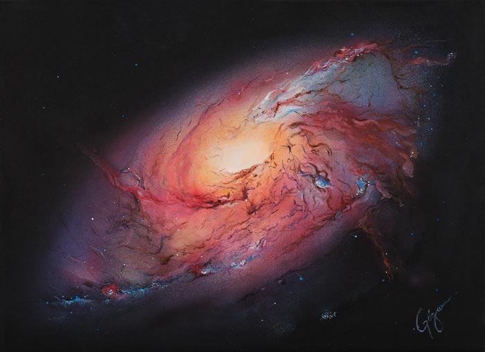 Galaxy canvas painting by Pilar Gogar