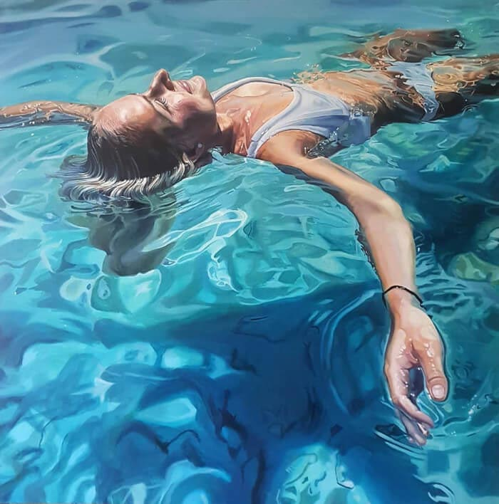 hyper realism oil painting of woman submerged in water