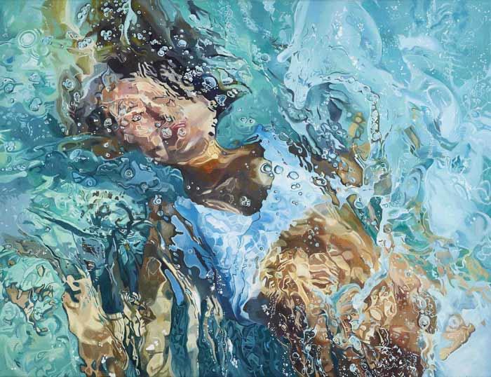painting of woman swimming underwater