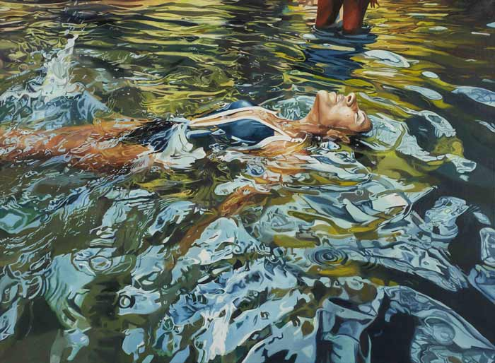 hyper realistic woman swimming painting
