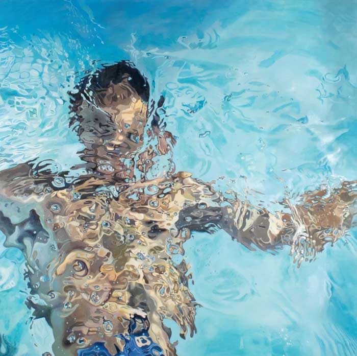 Hyper realistic man swimming painting