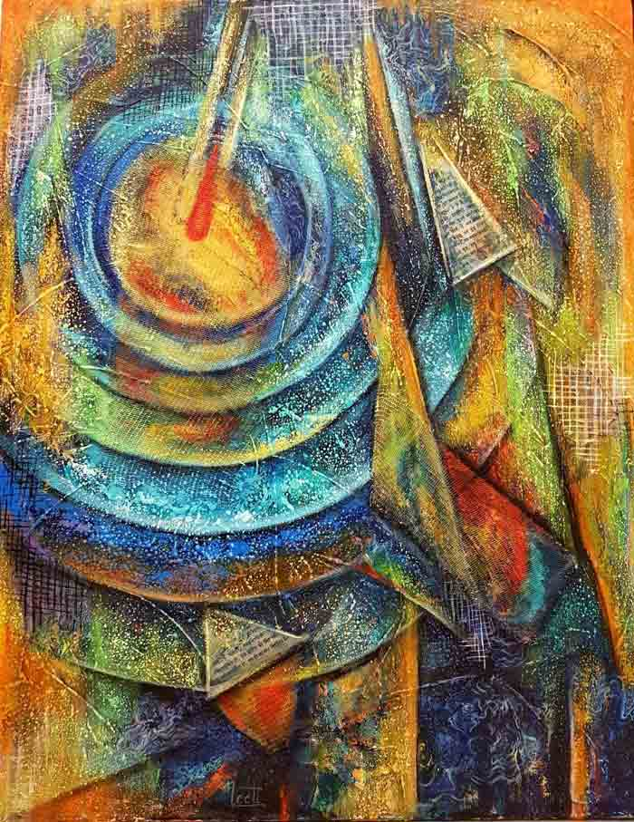 Divine Vibrations Mixed media and acrylic on canvas